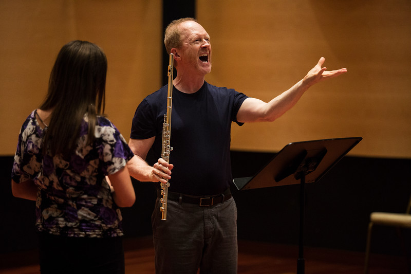 Richard Sherman, the Rita and Dunbar VanDerveer Symphony Principal Chair for Flute, teaches a Master Flute class in Fletcher Music Hall on Monday, July 24, 2017. ERIN CLARK / STAFF PHOTOGRAPHER
