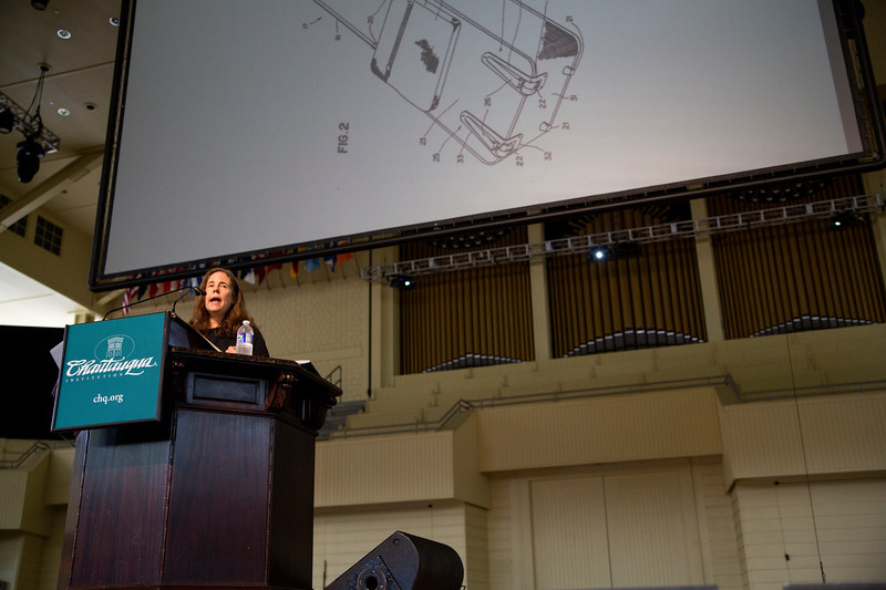 """Pagan Kennedy, author of Inventology: How We Dream Up Things That Change the World"""", closes Chautauqua Institution's week on """"Invention"""" on Friday, June 30, 2017 at the Amp. ERIN CLARK / STAFF PHOTOGRAPHER"""