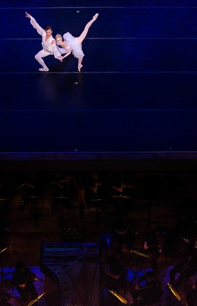 "Chautauqua Festival Dancers Rorey Fraser and Anna Grunewalkd perform ""Raymonda Variations, Pas de Deux"" with the MSFO in the Amp on Tuesday, July 24, 2017. ERIN CLARK / STAFF PHOTOGRAPHER"