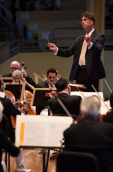 Steven Osgood, General and Artistic Director of the Chautauqua Opera Company, conducts the Chautauqua Symphony Orchestra Opera Highlights Concert in the Amp on Saturday, July 15, 2017. ERIN CLARK / STAFF PHOTOGRAPHER