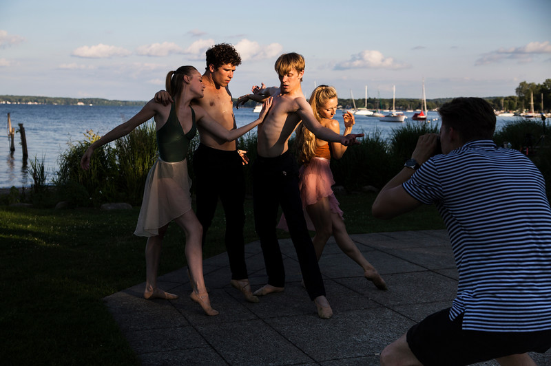 Dancers from the Charlotte Ballet from left, Lexi Johnston, Josh Hall, James Kopecky and Sarah Lapointe perform in a music and dance collaboration with musician Stelth Ng. A video documentary of the collaboration was filmed by Luke Saagi at the Chautauqua Bell Tower on Saturday, July 15, 2017.  ERIN CLARK / STAFF PHOTOGRAPHER