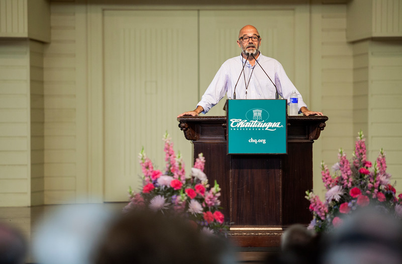 "Andrew Sullivan, author of ""keeping the faith"" , spoke about why he is a christian at Monday's Morning Lecture in the Amphitheater on June 10, 2017. ERIN CLARK / STAFF PHOTOGRAPHER"