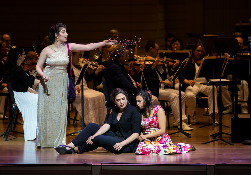 """From left to right, Chelsea Friedlander, Natalie Rose Havens, and Laura Soto-Bayomi perform Engelbert Humberdinck's """"Evening Prayer"""" from """"Hansel and Gretel"""" at the Chautauqua Symphony Orchestra Opera Highlights Concert in the Amp on Saturday, July 15, 2017. ERIN CLARK / STAFF PHOTOGRAPHER"""