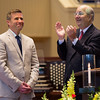 Chautauqua Institution Board of Trustees Chairman James A. Pardo Jr. welcomes President Michael E. Hill to the Installation of the Eighteenth President during the Opening of the 144th Assembly at Sunday Morning Worship on Sunday, June 25, 2017. ERIN CLARK / STAFF PHOTOGRAPHER