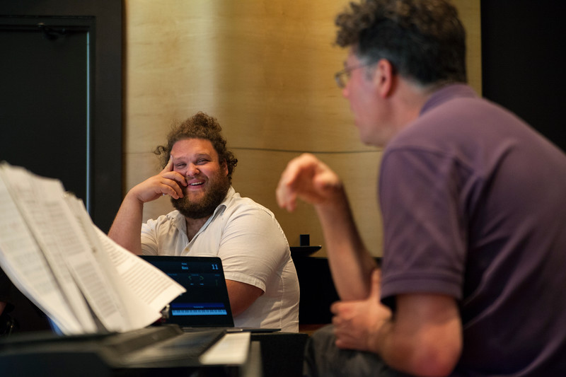 "Evan Ross, Bass-Baritone, rehearses ""Hydrogen Jukebox"" with Director of the Chautauqua Opera Company, Steven Osgood, on Monday, July 3, 2017. ERIN CLARK / STAFF PHOTOGRAPHER"