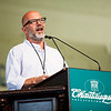 """Andrew Sullivan, author of """"keeping the faith"""" , spoke about why he is a christian at Monday's Morning Lecture in the Amphitheater on June 10, 2017. ERIN CLARK / STAFF PHOTOGRAPHER"""