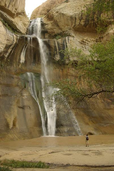 Hiker at Lower Calf Creek Falls