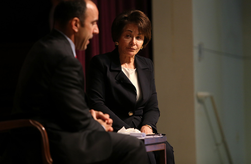 . Reps. Jimmy Panetta and Anna Eshoo speak at New Brighton Elementry in Capitola on Saturday afternoon during a packed town hall meeting. (Kevin Johnson -- Santa Cruz Sentinel)