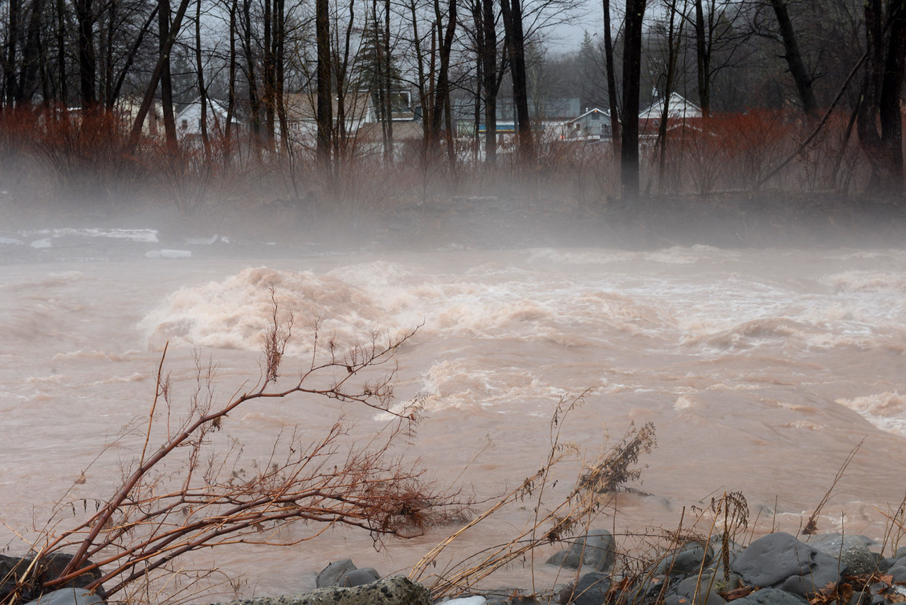 Tania Barricklo-Daily Freeman  Main St. Phoenicia can be see beyond the highwaters of the Esopus Creek due to rain and snowmelt.