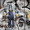 Lady Justice Goes Shopping, Street Art, Barcelona, 2011.