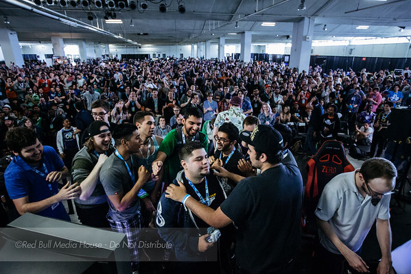 "Spectators rushed the stage after Edgard ""n0ne"" Sheleby defeated Jason ""Mew2King"" Zimmerman in Super Smash Bros. Melee at Get On My Level in Toronto, Ontario on May 21, 2016."