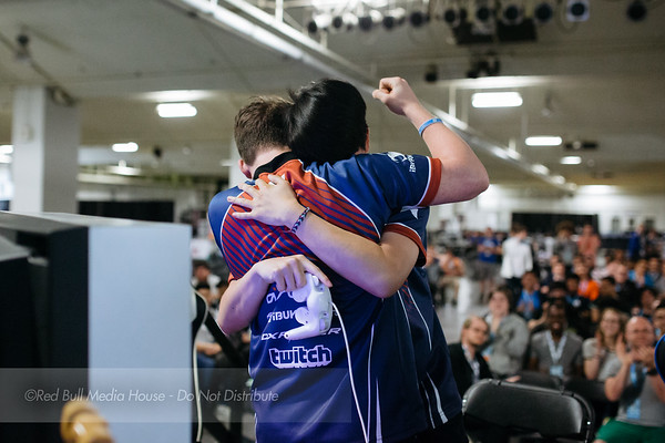 "Kevin ""PewPewU"" Toy and Zac ""SFAT"" Cordoni celebrat after winning Super Smash Bros. Melee doubles at Get On My Level in Toronto, Ontario on May 21, 2016."
