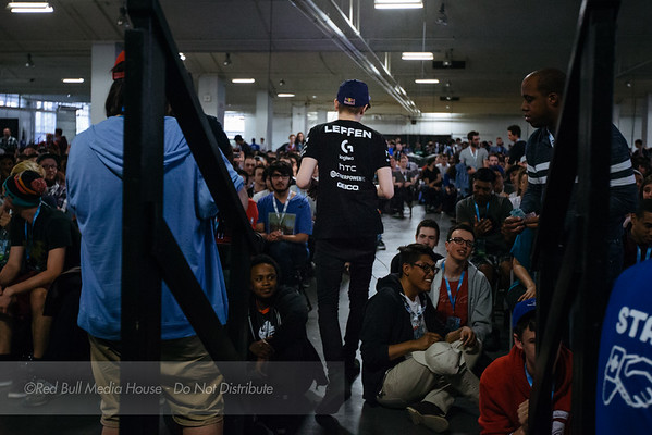 "William ""Leffen"" Hjelte leaves the stage after defeating Adam ""Armada"" Lindgren at Get On My Level in Toronto, Ontario on May 21, 2016."