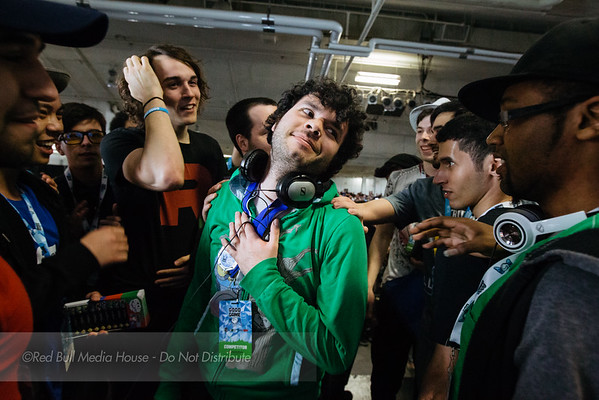 "Elliot ""Ally"" Carroza-Oyarce reacts to winning Super Smash Bros. for WiiU at Get On My Level in Toronto, Ontario on May 21, 2016."