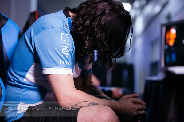 "Joseph ""Mango"" Marquez pauses to focus before a Super Smash Bros. Melee match at Get On My Level in Toronto, Ontario on May 21, 2016."