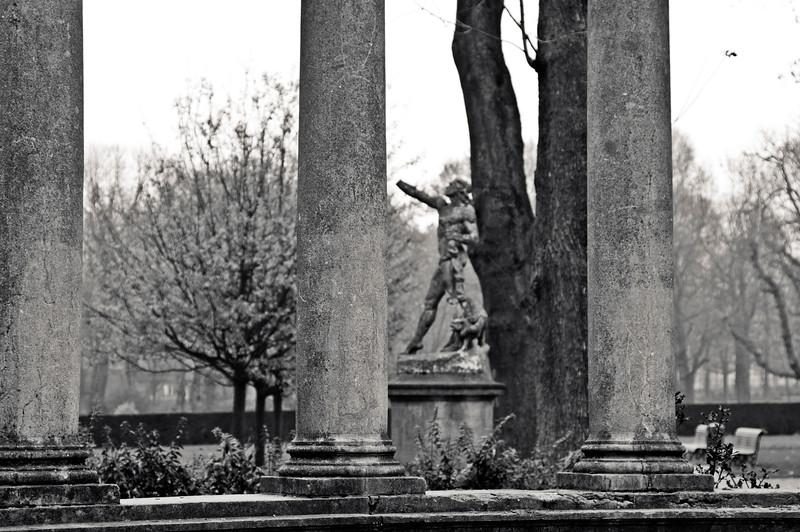 Three Pillars and Statue