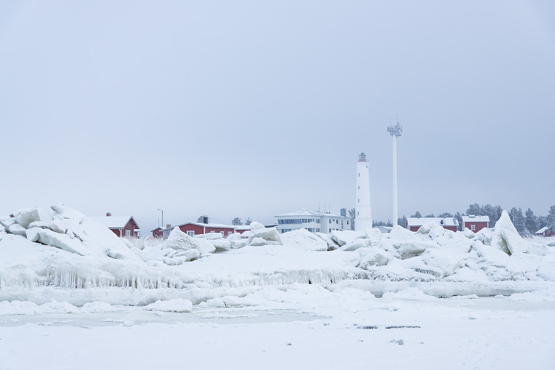 Lighthouse surrounded by sea ice at Marjaniemi