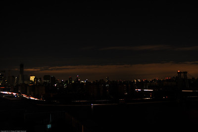 View of darkened Lower East Side from Williamsburg.