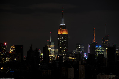 View of darkened Kips Bay with the Empire State Building in the backdrop.
