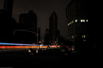 The darkened Flatiron Building.