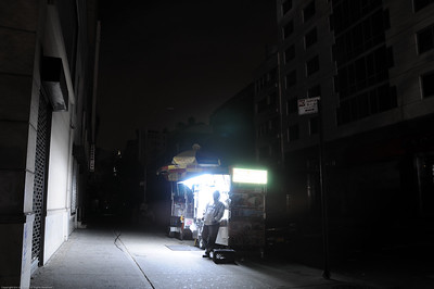 Even in a blackout, you can find a hot meal on the street.