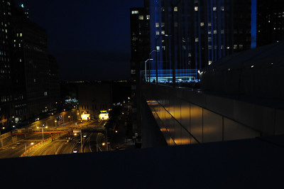 The installation is located on top of a parking garage right outside the entrance to the Battery Tunnel.