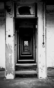 Beautiful corridor in one of an abandon Royal Airforce in the UK.