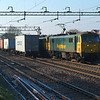 BLOCKER ,but a nice one this time as the boxes on the end wagons of the westbound Liner cover the usual four or five empty flats behind 86608+86622 on 4L89 22.01 Coatbridge FLT-Felixstowe N FLT.<br /> Witham 21.1.2017 10.50hrs.