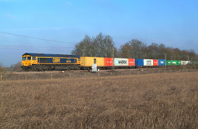 "With this loco being one of a couple reported at Felixstowe earlier , but not yet allocated , I thought there might be a chance of it appearing on this working. 66744 Terling Rd. 17.1.2017 12.32hrs 4M23 10.46 Felixstowe N GBRf-Hams Hall GBRf. Lucky boy. Another "" Cop ""."