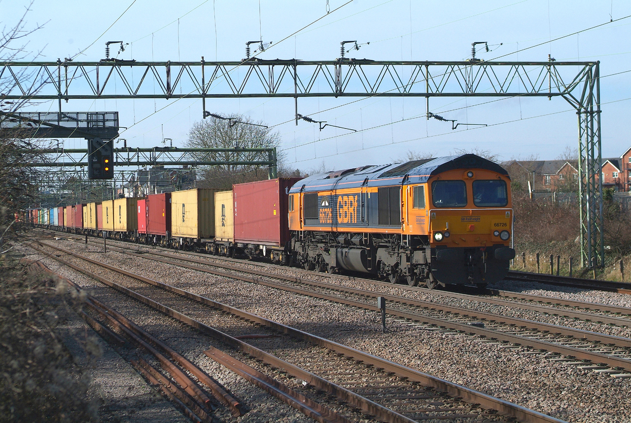 Just 2 minutes later , 66726 Witham 14.3.2018 09.57hrs.4L02 04.28 Hams Hall GBRf-Felixstowe N GBRf.
