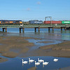 66758 Manningtree 12.2.2018 11.41hrs 4M23 10.46 Felixstowe N GBRf-Hams Hall GBRf.<br /> Seven swans a swimming . Where's the other one ??