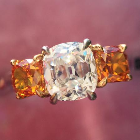 1.01ctw Cushion Cut Diamond 3-stone Ring, by DBL
