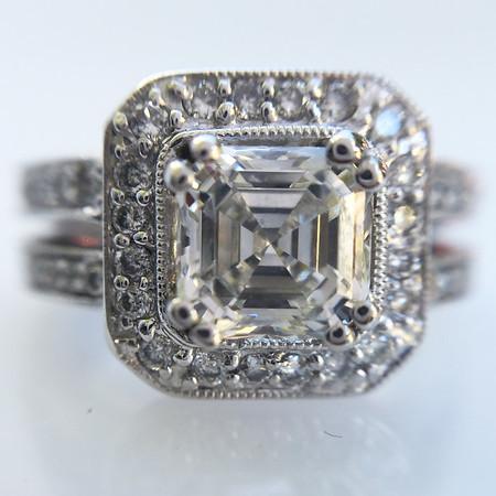 1.04ct Asscher Cut Diamond Halo Ring, GIA F VS1