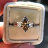 1.10ct Fancy Dark Brownish Yellow Marquise 3-Stone Ring 12