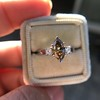 1.10ct Fancy Dark Brownish Yellow Marquise 3-Stone Ring 18