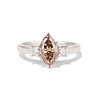 1.10ct Fancy Dark Brownish Yellow Marquise 3-Stone Ring 0