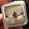 1.10ct Fancy Dark Brownish Yellow Marquise 3-Stone Ring 6