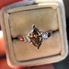 1.10ct Fancy Dark Brownish Yellow Marquise 3-Stone Ring 8