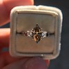 1.10ct Fancy Dark Brownish Yellow Marquise 3-Stone Ring 15
