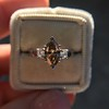 1.10ct Fancy Dark Brownish Yellow Marquise 3-Stone Ring 16