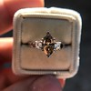 1.10ct Fancy Dark Brownish Yellow Marquise 3-Stone Ring 14