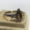1.10ct Fancy Dark Brownish Yellow Marquise 3-Stone Ring 20