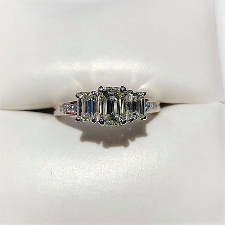 1.15ctw Emerald Cut Diamond Trilogy Ring