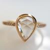 1.20ct Pear Shape Rose Cut Diamond Bezel Ring 7