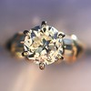 1.26ctw Old European Cut and Baguette Ring 55