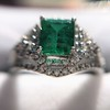 1.29ctw Emerald and Diamond Modified Halo Ring 11