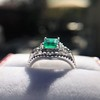 1.29ctw Emerald and Diamond Modified Halo Ring 13