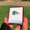 1.29ctw Emerald and Diamond Modified Halo Ring 24