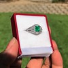 1.29ctw Emerald and Diamond Modified Halo Ring 23