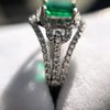 1.29ctw Emerald and Diamond Modified Halo Ring 10